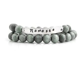 NAMASTE,Namaste Bracelet,Mala Bracelet,Wrap Bracelet,Wood Bracelet,Yoga Jewelry,Inspirational Jewelry,Quote Cuff, Quote Bracelet