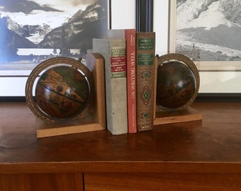 Pair of Vintage Globe Bookends Made in Italy