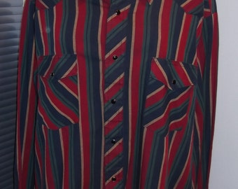 Corral West Ranchwear Snap Front Striped Shirt XL