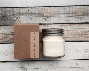 Ring of Fire  8 oz Mason Jar Soy Candle Rustic Hand poured Volcano type