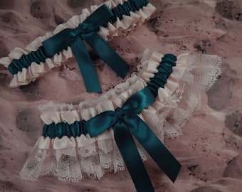Teal Blue Ivory Ribbon Ivory Lace Bridal Wedding Garter Toss Set
