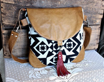 Crossbody Oregon wool purse bag handbag messenger satchel leather trim- black/ caramel-- Ready to Ship--