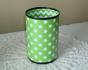 Lime and Turquoise Stars and Chevron Desk Accessories, Pencil Holder, Classroom Organization, Dorm Decor, Teacher Gift - 1020