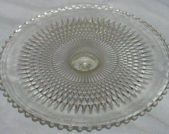 Anniversary Jeannette Candlewick Glass Cake Plate gw Duchin Sterling Silver Base