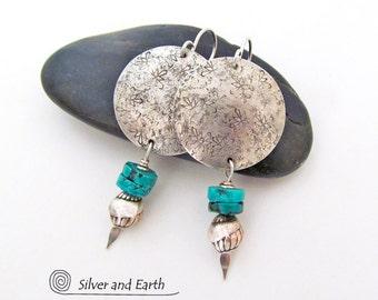 Silver & Turquoise Earrings, Handmade Sterling Silver Earrings, Turquoise Drop Earrings, Artisan Silver Earrings, Modern Earthy Chic Jewelry