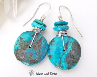 Natural Turquoise Earrings, Sterling Silver, Genuine Turquoise Jewelry, Organic Earthy Natural Stone Earrings, December Birthstone Jewelry