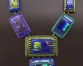 High-Tech Style Necklace, Bead Embroidery Dichroic Glass  Necklace, OOAK