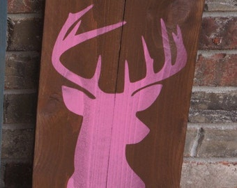 ON SALE In Stock and Ready to Ship Deer Silhouette Fence Post Sign Rustic Wall Hanging Pink on Brown