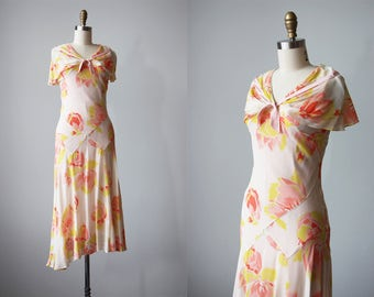 30s Gown - Vintage 1930s Dress - Bias Cut Tulip Tree Flower Print Silk Chiffon Flutter Dress XS S - Coy Wink Dress
