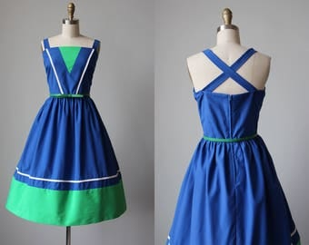 70s Dress - Vintage 1970s Dress - Color Block Blue Apple Green Cotton Blend Halter Sundress L XL - Whirlpool Dress