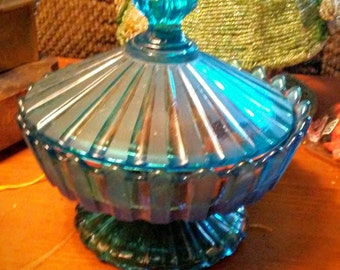 Vintage Turquoise Glass Candy Dish