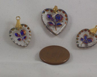 Destash! Glass Heart Rose Intaglio Necklace and Earring Components by ceeceedesigns on etsy