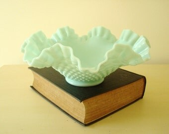 Fenton hobnail Green Pastel bowl, 1955 green milk glass, large fruit bowl, aqua green like Jadite, wedding sweet table, centerpiece bowl