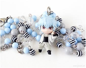 Gintoki Sakata Rosary Necklace, Pastel Blue, Anime Necklace, Otaku Gifts, Kawaii, Chibi Character