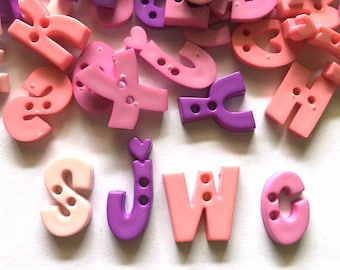50 pcs Assorted A B C Letter buttons 2 holes for sewing crafts mix purple and pink tone
