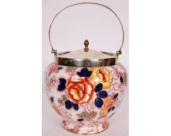 Vintage 1930s Chintz Biscuit Barrel - Leighton Pottery - CHINESE ROSE - Cookie Jar