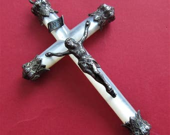 Antique French Crucifix Silver And Mother Of Pearl Confirmation Cross Catholic Pendant
