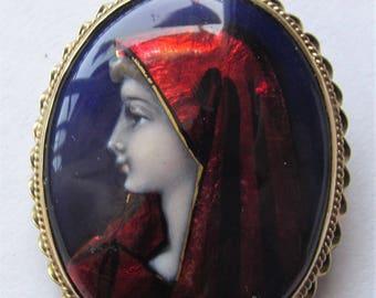 Virgin Mary Limoges Brooch Antique French 14 Karat Gold Enamel Pendant Jewelry