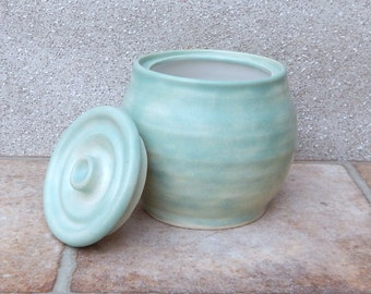 Honey pot or jam jar hand thrown cannister storage in stoneware wheelthrown pottery handmade ceramic
