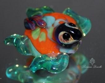 Splash Lampwork Turtle bead