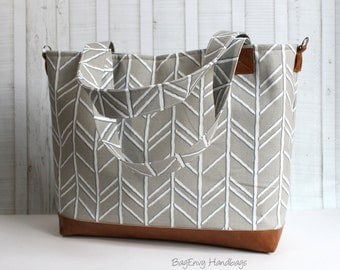 Herringbone in Cove Grey with Vegan Leather - Tote Bag /  Diaper Bag -  Medium / Large Bag