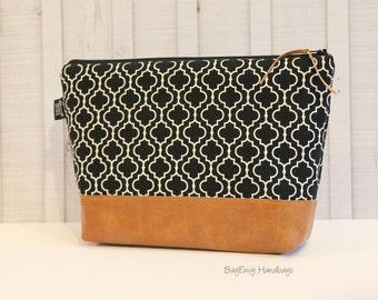 Black Quatrefoil with Vegan Leather - Large Make Up Bag / Diaper Clutch / Bridesmaid Gift