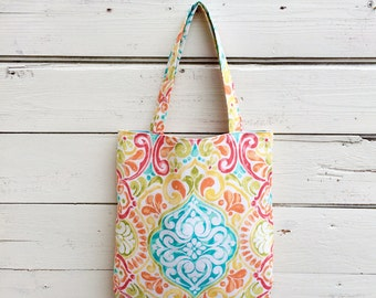 Colorful Tote Bag, Canvas Tote Bag, Purse, Handbag, Bright Colors Tote Bag, Floral Tote Bag, Book Bag, Summer Tote Bag