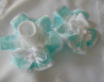 adult frilly socks mint green/white UK 4-7~~EU 37-40~~USA 6-9 Abdl party sissy boots playtime hand made