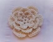 Flower crochet motif 3 inch white bamboo pearl yarn flower one flower