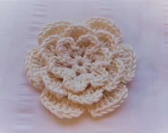 Flower crochet motif 3 inch white bamboo pearl yarn flower one flower