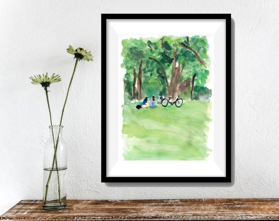 Relaxing under the trees Art  print of original watercolor painting , 3 girls and a bicycle  limited edition