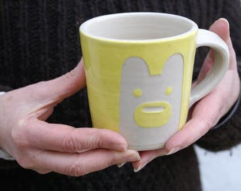 SECONDS SALE - Two tall yellow bear mugs glazed in simply clay