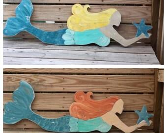 Mermaid LARGE Wall Art Choose Your Haircolor Beach and Coastal Decor