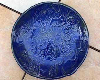 Blue Stoneware Bowl Lace Design 10 inch Decorative