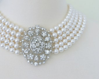 The Greta Garbo Necklace - Vintage-Inspired Pearl and Rhinestone Bridal Necklace