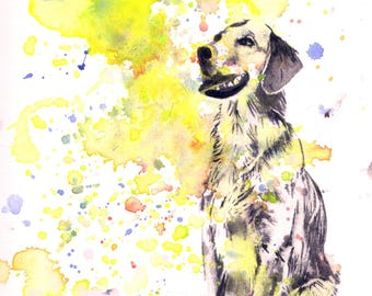 Custom Pet Portrait Painting Custom Dog Portrait Your Favorite Anything in a Splash of Color Dog Golden Retriever Painting Print