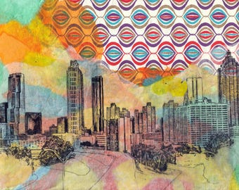 Atlanta Cityscape Skyline Landscape Art Print From Original Painting 8 x 10 in Art Print