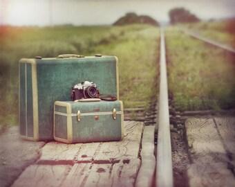 2pm Departure, suitcase, green, rail road track, train, travel, camera, film, Fine Art Photograph, 8x10