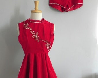 Vintage 1950s Girls Red Velvet Dress with Matching Bottoms / 50s Skater Dress Outfit