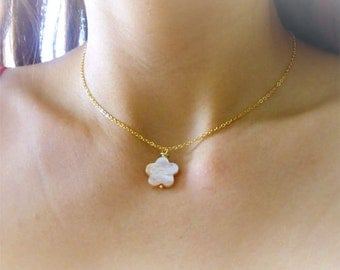 Mother of Pearl Gold Necklace, High Quality Gold Necklace, Choker Necklace, Pearl Necklace, Gold Plated Necklace, Layering Necklace, Simple