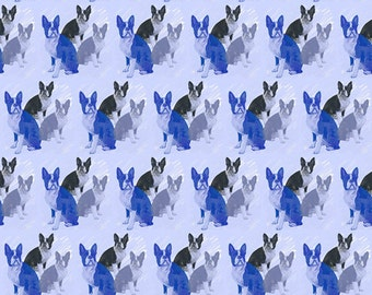 Boston Terriers In Blue fabric