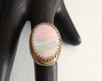 Chunky Mother of Pearl Oval Ring Adjustable