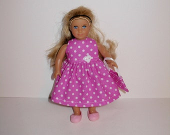 Handmade clothes. Cute print dress for Mini American girl doll 6 1/2 inch