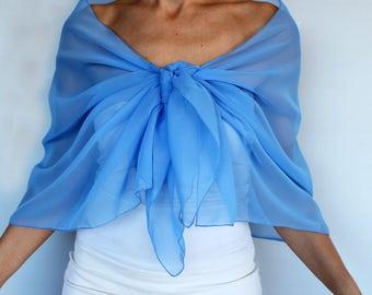 Baby Blue Chiffon Shawl, Shoulder Wrap Evening Stole, Formal Scarf, Costume Dress Coverup, Bridesmaids Shawl