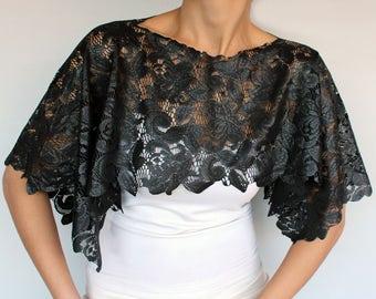 Black Lace Tunic Top Cape, Dress Cover up, Evening Bridal Shrug Capelet, Shoulder Stole Shawl, Mother of Bride Accessory Wedding  Bolero