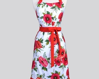 Classic Womens Retro Apron - Large Red Poppy Floral Vintage Style Kitchen Woman Apron with Lined Pockets and Fitted Bodice