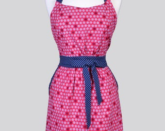 Classic Womens Full Apron . Red and Navy Blue Nautical Mothers Day Cute Vintage Inspired Kitchen Apron with Pockets and Fitted Bodice
