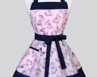 Ruffled Retro Womans Apron / Butterflies in Navy on Pink Blush Cute Retro Pin Up Vintage Style Kitchen Apron to Personalize or Monogram