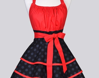 VIXEN Womens Flirty Chic Apron . Black Tone on Tone Polka Dots and Red Cute Sexy Rockabilly Vintage Style Retro Pin Up Kitchen Cooking Apron