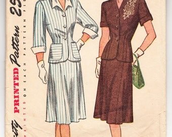 Vintage 1947 Simplicity 1935 Sewing Pattern Misses' Two-Piece Dress in Half Sizes Size 14-1/2 Bust 33